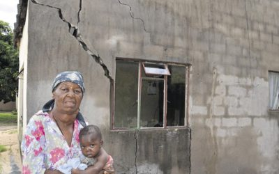 Poorly constructed houses given to residents.