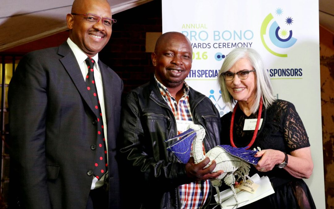 Ntate Bricks of the Orange Farm Human Rights Centre, receives an award as ProBono acknowledges and celebrates the role played by legal practitioners.